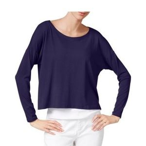 Eileen Fisher Ballet Top Scoop Neck Navy Blue